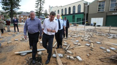 NSW premier Mike Baird inspects storm-damaged Collaroy in June 2016.