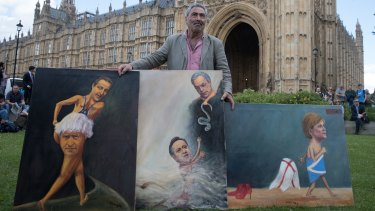 Satirical artist Kaya Mar poses with Brexit-themed artwork depicting Prime Minister David Cameron, former London Mayor Boris Johnson, Leader of the UKIP, Nigel Farage, and leader of the Scottish National Party (SNP), Nicola Sturgeon in London
