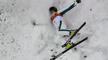 Deflated: Laura Peel of Australia crashes during the women's freestyle aerial final.