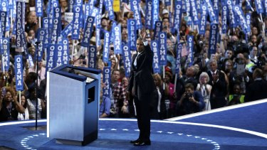 President Barack Obama takes the stage.