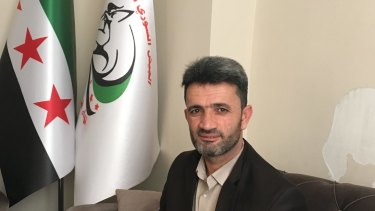 Lieutenant-Colonel Fares al-Bayoush of  the Fursan al-Haq Brigade, a unit of the Free Syrian Army.