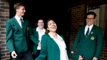 Concord High School students, (L-R) Max Brenner, Sophie Briede, Zahra Noorgat, completed their first HSC exam in Sydney.