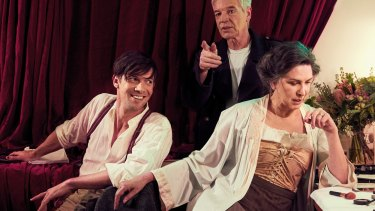 Toby Schmitz, Colin Friels and Pamela Rabe in <I>The Dance of Death</I>.