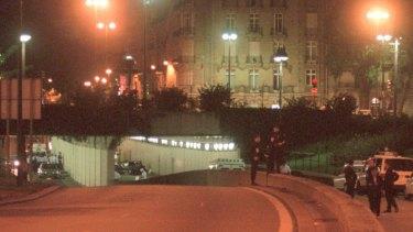 The scene of the car crash in Paris.