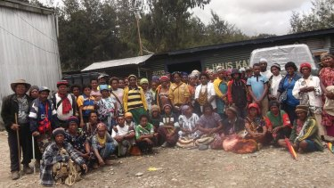 A group photo of Porgera community women and men who say they were raped or  violently abused at the gold mine owned by Barrick Gold Corporation.
