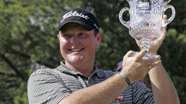 Jarrod Lyle celebrates his win in the Knoxville Open in 2008.