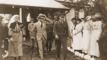 Matron-in-Chief Grace Margaret Wilson, far right, at Lemnos pictured with Edward Prince of Wales.