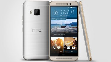 The new HTC One M9 smartphone in dual-tone silver and rose gold.