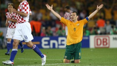 Appeal:  Mark Viduka in the match against Croatia in the 2006 World Cup.