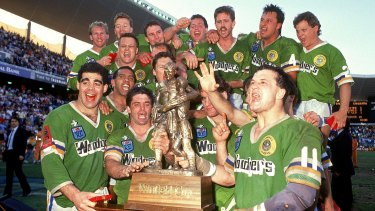 Unbelievable: The Canberra Raiders celebrate winning the 1989 NSWRL grand final.