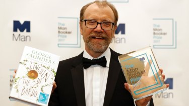 Author George Saunders after being announced winner of the 2017 Man Booker Prize.