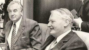 Then treasurer Frank Crean, pictured in 1975 with prime minister Gough Whitlam.