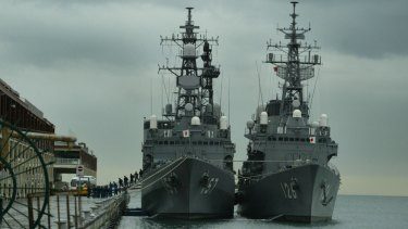 Japanese destroyers docked in Melbourne.