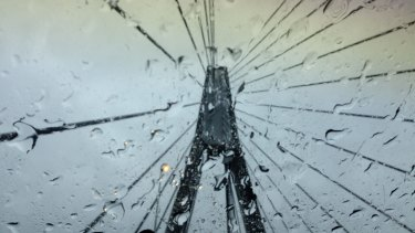 Rain falls over Anzac Bridge on Monday.