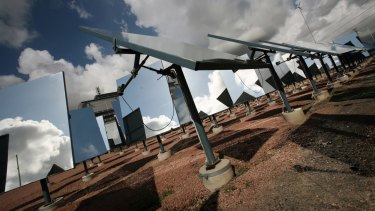 Concentrated solar power uses the sun's heat, rather than its light, from a field of heliostat mirrors.