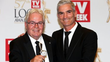 Colleagues, friends: Les Murray and Craig Foster worked together at SBS and were synonymous with the broadcaster's football coverage.