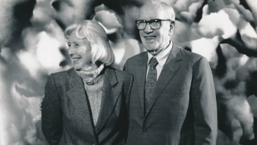 Lady Mary and Sir Sidney Nolan at the National Gallery of Victoria in 1992.