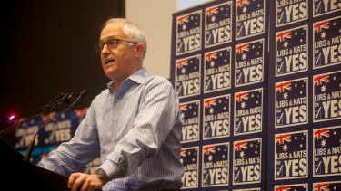 Prime Minister Malcolm Turnbull speaks to the  NSW Liberals and Nationals for Yes group at the Australian Museum in Sydney on Sunday.