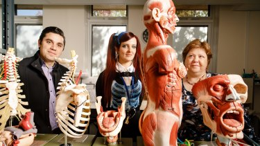 ANU Body Donation program coordinator Dr Riccardo Natoli, Anatomical services specialist Hannah Lewis, and Associate Professor of Anatomy Krisztina Valter.