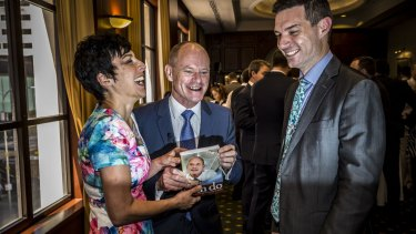 Campbell Newman with his wife Lisa Newman and author Gavin King at the launch of Can Do: Campbell Newman and the Challenge of Reform.