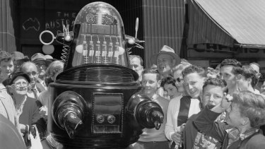 Robby The Robot visits Sydney to promote the M.G.M. film Forbidden Planet in 1956