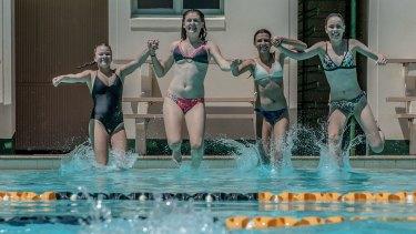 Georgia Austin, Claire Egan, Elizabeth de Souza and Alexandra Shield cool off at the Manuka Pool on Friday.