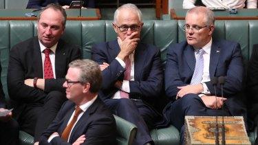 Prime Minister Malcolm Turnbull with Deputy Prime Minister Barnaby Joyce, Minister Christopher Pyne and Treasurer Scott Morrison.