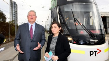 Former US vice-president Al Gore and Victorian Energy Minister Lily D'Ambrosio talk battery storage and green energy in Melbourne.