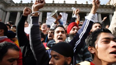 Members of the Indian student community protest at the lack of action after violent attacks on international students in 2009.