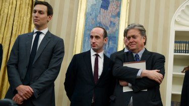 The inner circle: Senior Adviser Jared Kushner, policy adviser Stephen Miller, and chief strategist Steve Bannon.