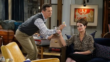 Sean Hayes as Jack McFarland with  Megan Mullally's Karen Walker in the seson 1 opener  <i>11 Years Later</i>.