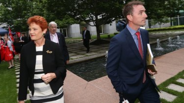 Pauline Hanson and her advisor James Ashby.