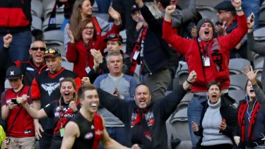 Bombers away:  Essendon supporters celebrate as the final siren sounds on their second win of season 2016.