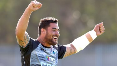Happy campers:  Andrew Fifita jokes around during Cronulla's training session at Remondis Stadium on Monday.