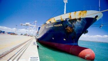 Ship berthing at the Port of Brisbane.
