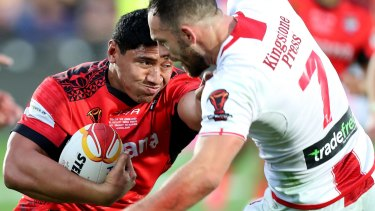 Don't argue: Jason Taumalolo pushes Luke Gale out of the way.