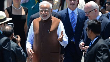Indian Prime Minister Narendra Modi arrives at Brisbane Airport to attend the G20 summit.