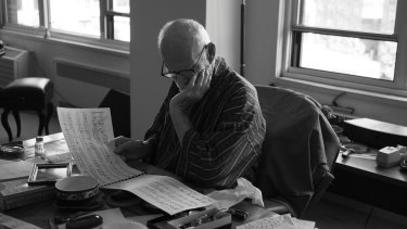 """Studying Bach"", Bill Hayes' photograph of his late partner, medical author Oliver Sacks, in August 2015."