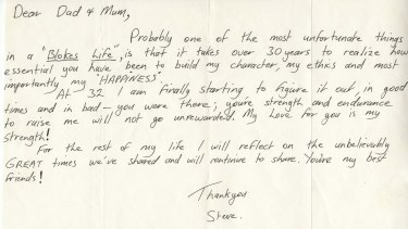 Steve Irwin penned the letter to his parents when he was 32, thanking them for shaping his character.