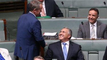 Opposition Leader Bill Shorten approaches Mr Hockey before his speech.