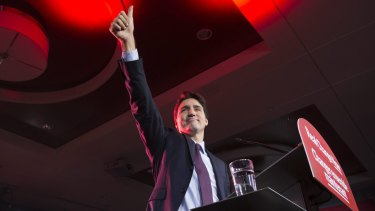 Canadian Liberal leader Justin Trudeau at the party headquarters in Montreal on Tuesday after becoming Prime Minister by beating Conservative Stephen Harper.