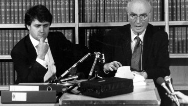 Malcolm Turnbull and his client, the author of <I>Spycatcher</I>, Peter Wright, in 1986.