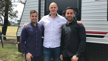 Justin Borg (left) and Matthew Kalanos (right) have launched Spota, with financial assistance from their former boss Senoll Kaptan (middle).