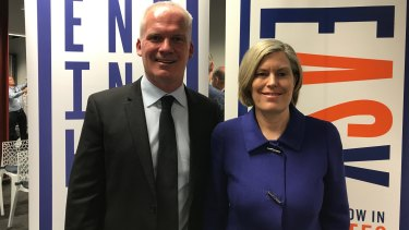 ACON chief exeuctive Nicolas Parkhill and NSW Health Chief Health Officer Dr Kerry Chant at Wednesday's announcement.