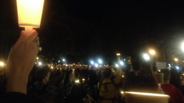 Sea of candles: thousands of Sydneysiders were moved by Aylan Kurdi's death.