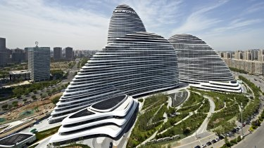 The striations of Zaha Hadid's Wangjing Soho buildings in Beijing have inspired the architect's jewellery series.