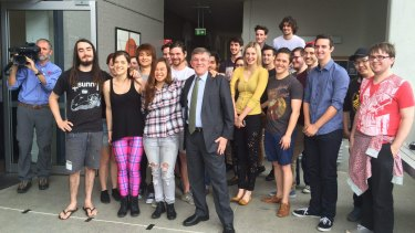 Griffith University film students, pictured with Queensland Arts Minister Ian Walker, hope they will have a chance to be involved with the film.