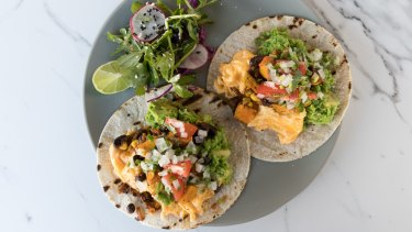 Breakfast tacos at Southside Charmers are a tasty, veg-friendly dish.