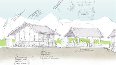 One of Australian Ken McBryde's sketches for Garma Secondary School.
