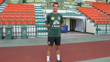 Sidelined: Gary Stevens last November at Thai Premier League club Army United FC.